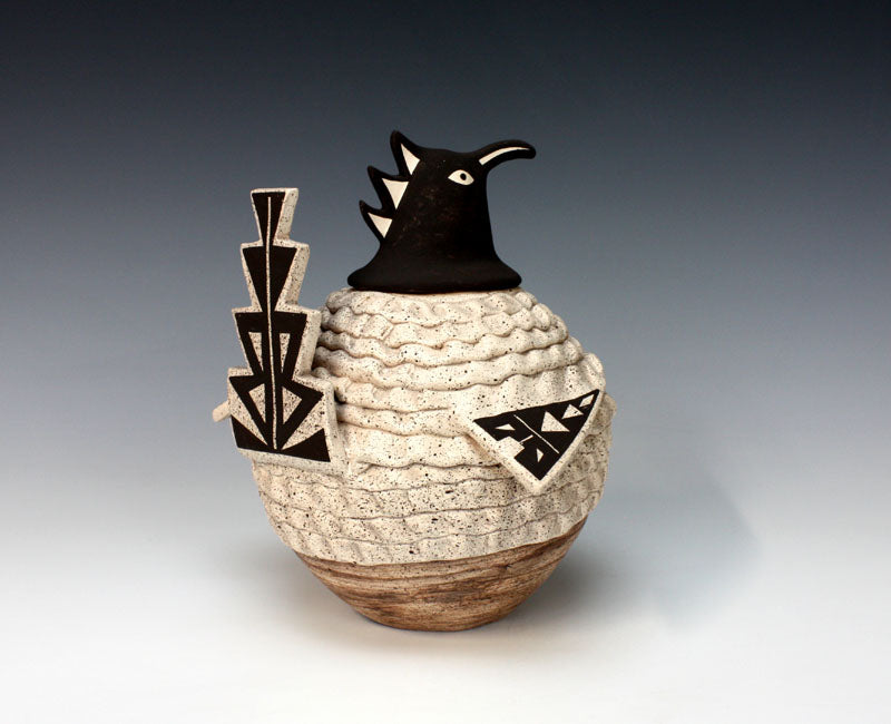 Acoma Pueblo Native American Indian Pottery Roanrunner Canister - Flo & Lee Vallo