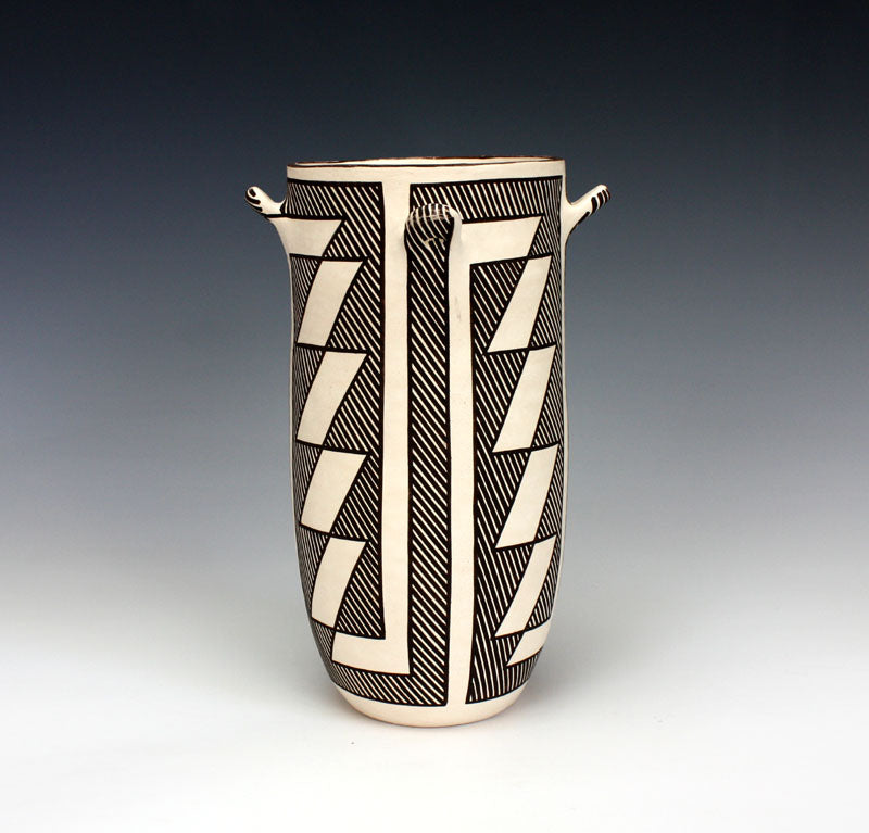 Acoma Pueblo Native American Pottery Chaco Cylinder Jar - Flo & Lee Vallo