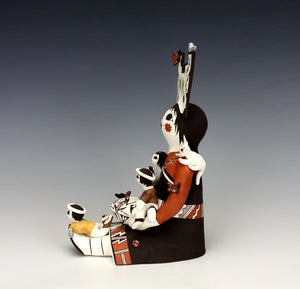 Acoma Pueblo Native American Indian Pottery Big Storyteller - Judy Lewis