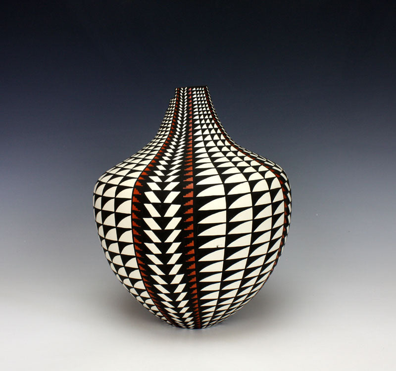 Acoma Pueblo Native American Indian Pottery Eyedazzler Jar - Sandra Victorino