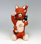Cochiti Pueblo Native American Indian Pottery Cat Storyteller #2 - Dorothy Herrera