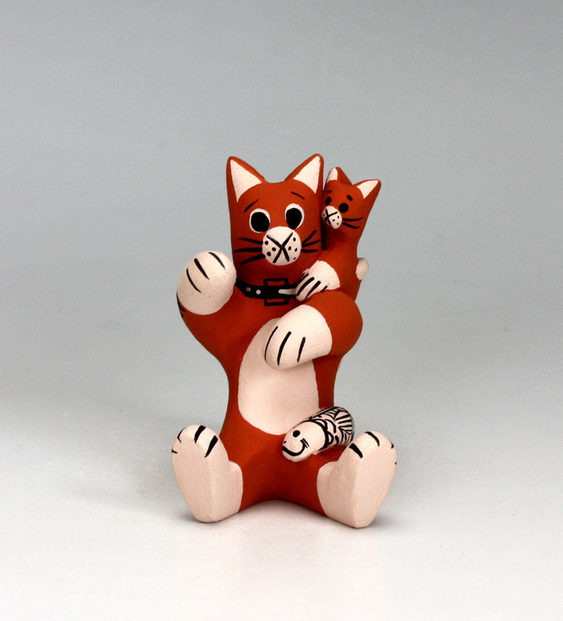 Cochiti Pueblo Native American Pottery Small Cat Storyteller - Dorothy Herrera