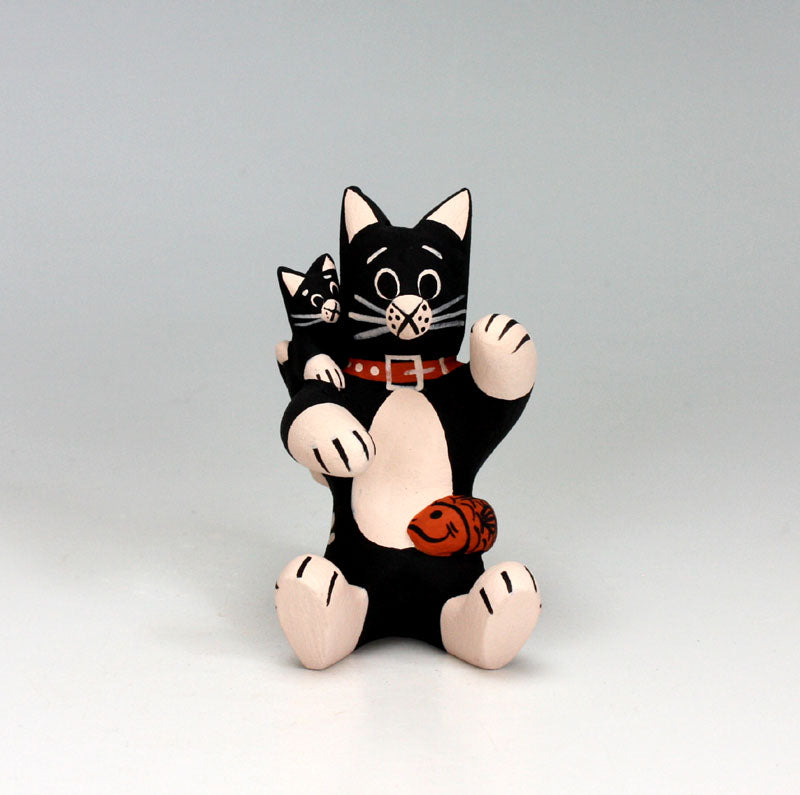 Cochiti Pueblo Native American Pottery Small Cat Storyteller #1 - Dorothy Herrera