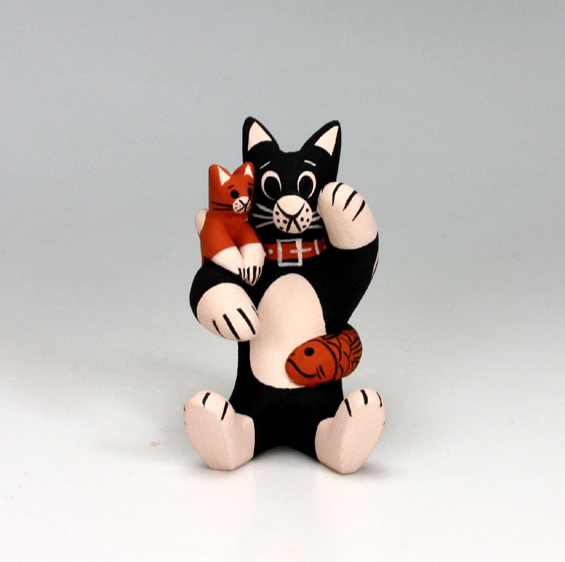 Cochiti Pueblo Native American Pottery Small Cat Storyteller #3 - Dorothy Herrera