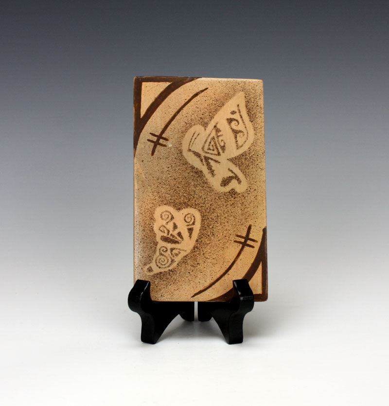 Hopi Native American Indian Pottery Butterfly Tile - Louden Silas