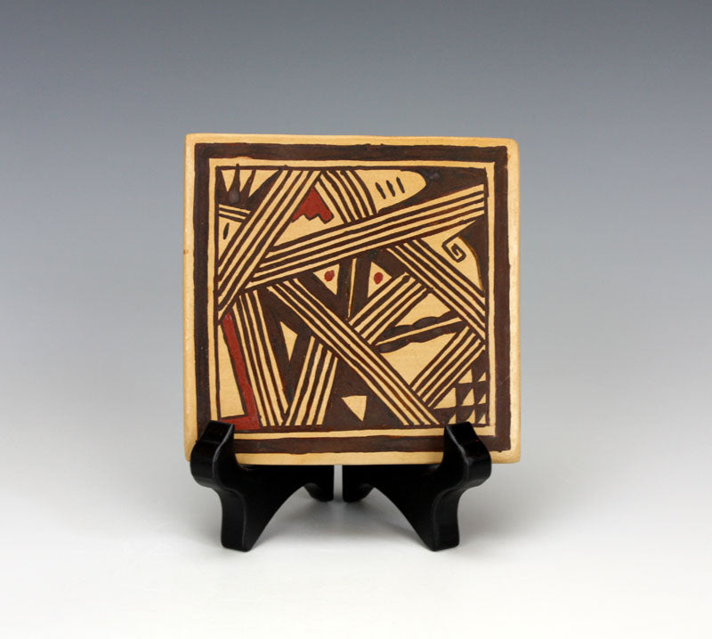Hopi Native American Indian Pottery Square Tile #1 - Louden Silas