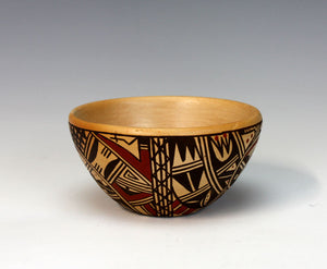 Hopi Native American Indian Pottery Playing Birds Bowl - Louden Silas