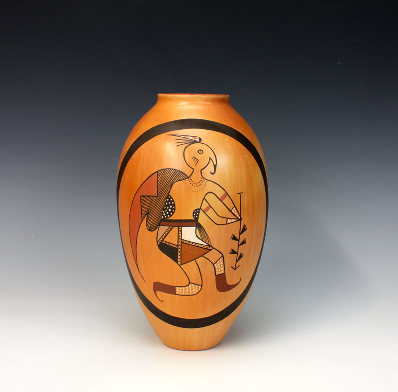 Hopi American Indian Pottery Tall Jar - Mark Tahbo