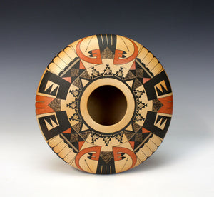 Hopi American Indian Pottery Eagle Tail Jar - Karen Abieta