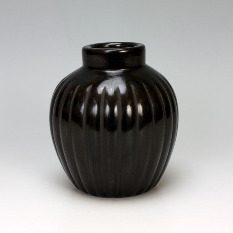 Santa Clara Pueblo Indian Pottery Black Melon Jar - Alvin Baca