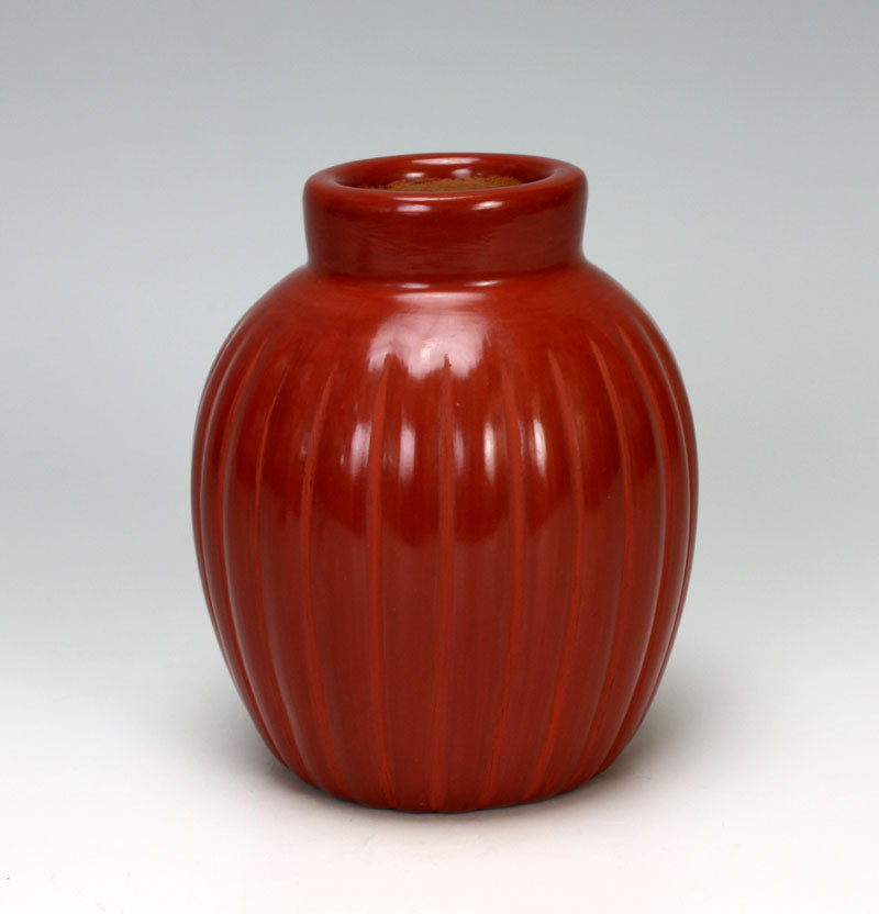 Santa Clara Pueblo Indian Pottery Red Melon Jar #1 - Alvin Baca