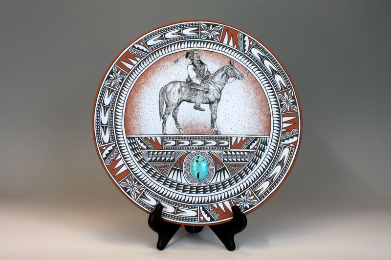 Jemez Pueblo American Indian Pottery Warrior Horse Plate Turquoise - Scott Small