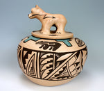 Isleta American Indian Pottery LARGE Lidded Bear Jar - Diane Wade (Various)