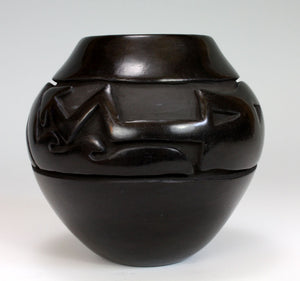 Santa Clara Pueblo Indian Pottery Carved Avanyu Vase - Mida Tafoya