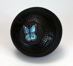 Navajo American Indian Pottery Etched Butterfly Seed Pot - Wallace Nez