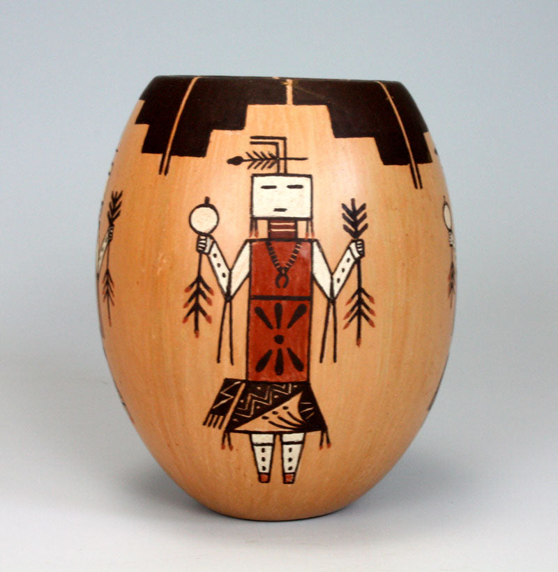 Navajo Native American Indian Pottery Yei Figure Hopi Vase - Ida Sahmie