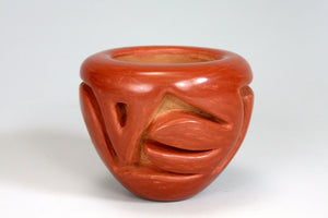 Santa Clara Pueblo Indian Pottery Deep Carved Vase - Mary Scarborough