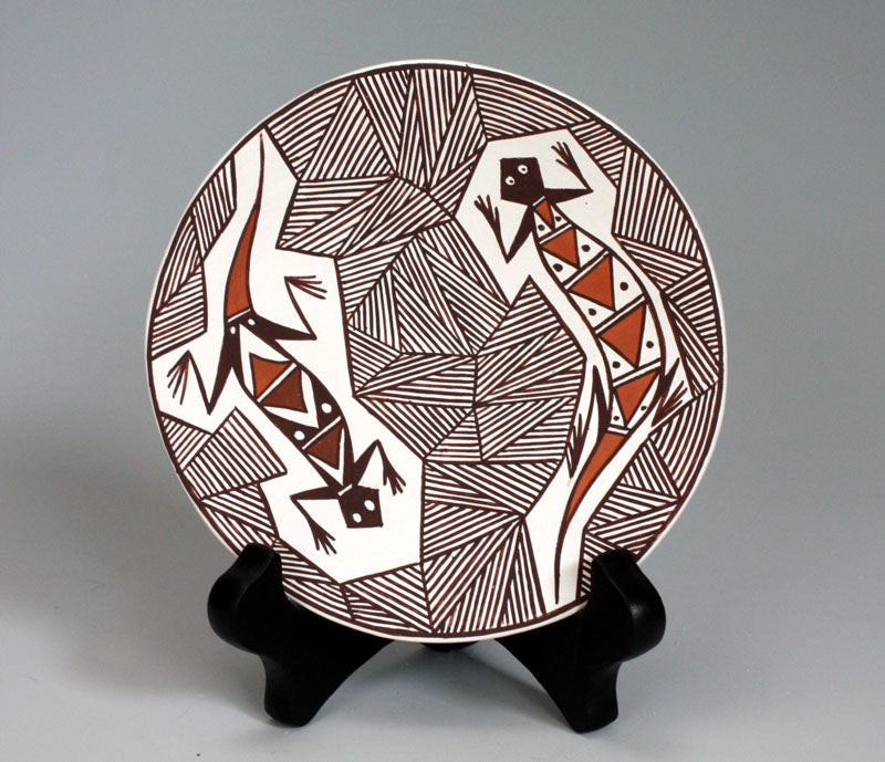 Acoma Pueblo Native American Indian Pottery Lizard Plate - Lorraine Aragon