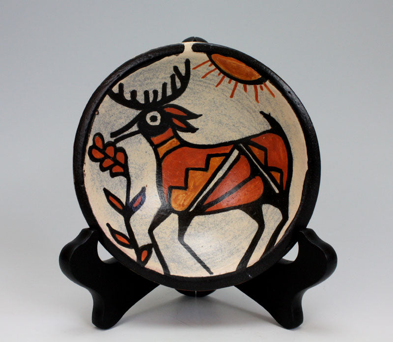 Kewa - Santo Domingo Pueblo Indian Pottery Deer Plate - Rose Pacheco