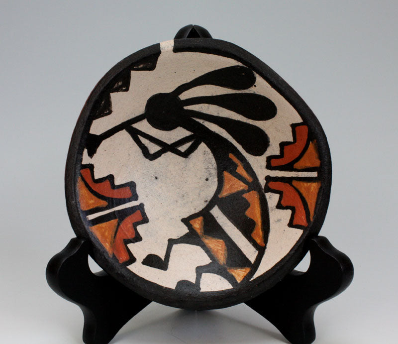 Kewa - Santo Domingo Pueblo Indian Pottery Kokopelli Plate - Billy Veale
