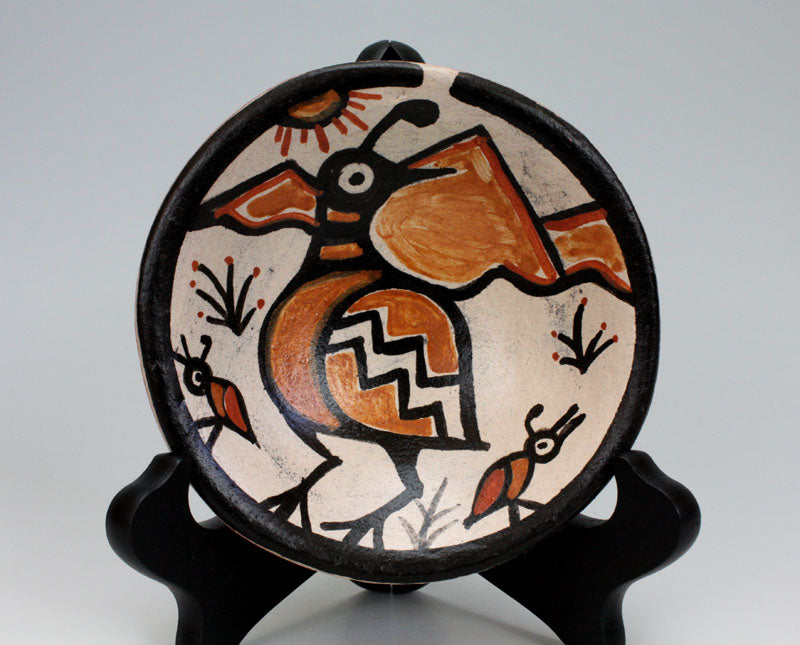 Kewa - Santo Domingo Pueblo Indian Pottery Quail Plate - Rose Pacheco
