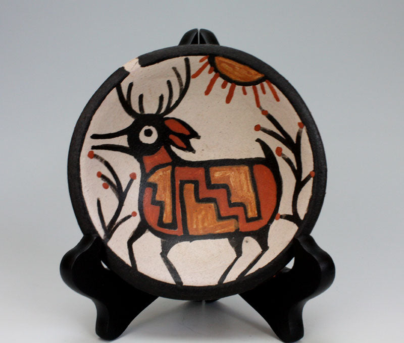 Kewa - Santo Domingo Pueblo Indian Pottery Deer Plate #1 - Rose Pacheco
