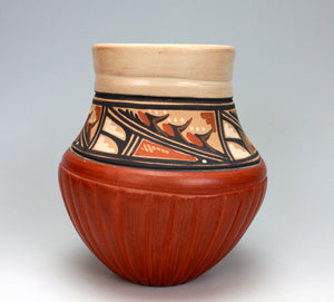 Jemez Pueblo American Indian Pottery Corn Melon Vase - Virginia Ponca Fragua