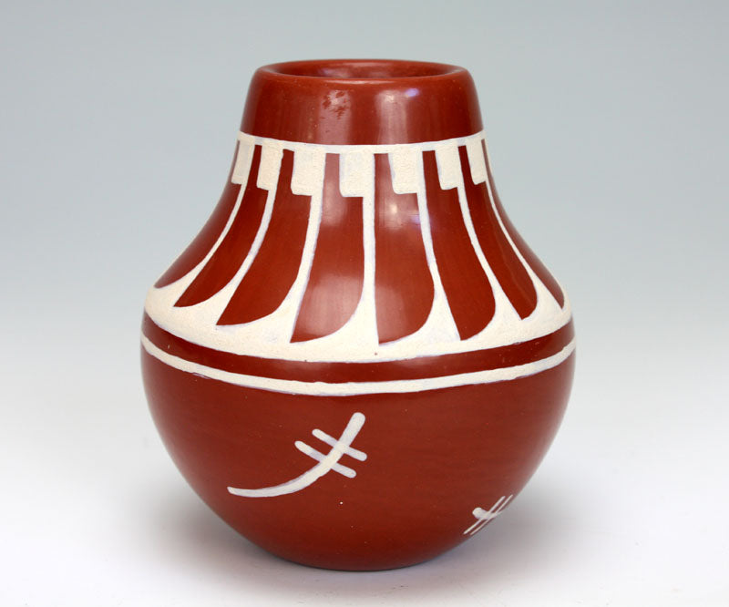 San Ildefonso Pueblo Indian Pottery Redware Feather Vase - Brenda Fender