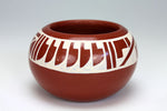 San Ildefonso Pueblo Indian Pottery Redware Feather Bowl - Brenda Fender