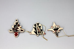 Jemez Pueblo American Indian Pottery Set of 3 Ornaments - Brenda Panana