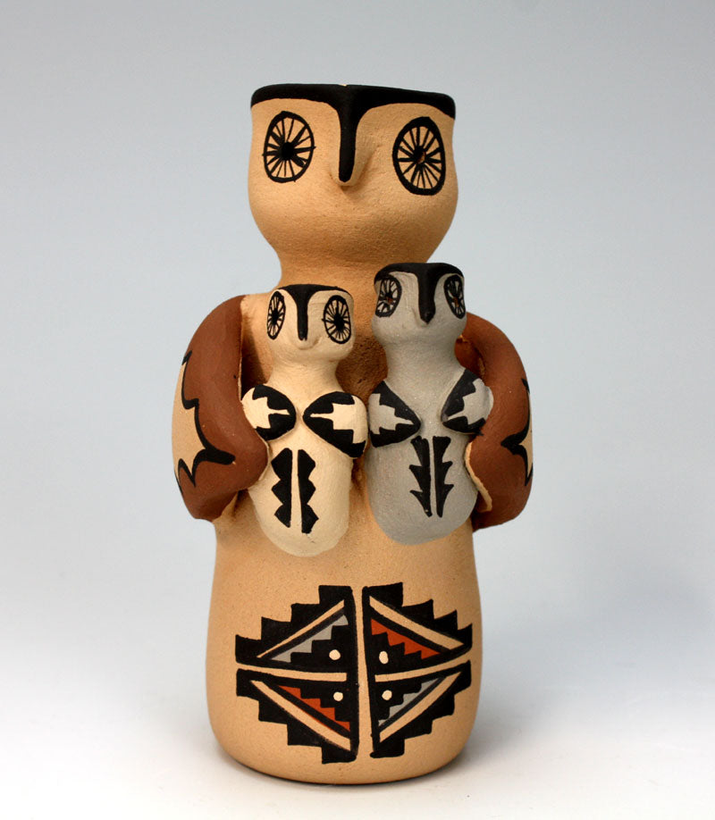Jemez Pueblo American Indian Pottery Owl Storyteller - Chrislyn Fragua
