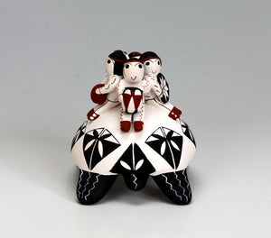 Cochiti Pueblo Native American Indian Pottery Turtle Rider #1 - Vangie Suina