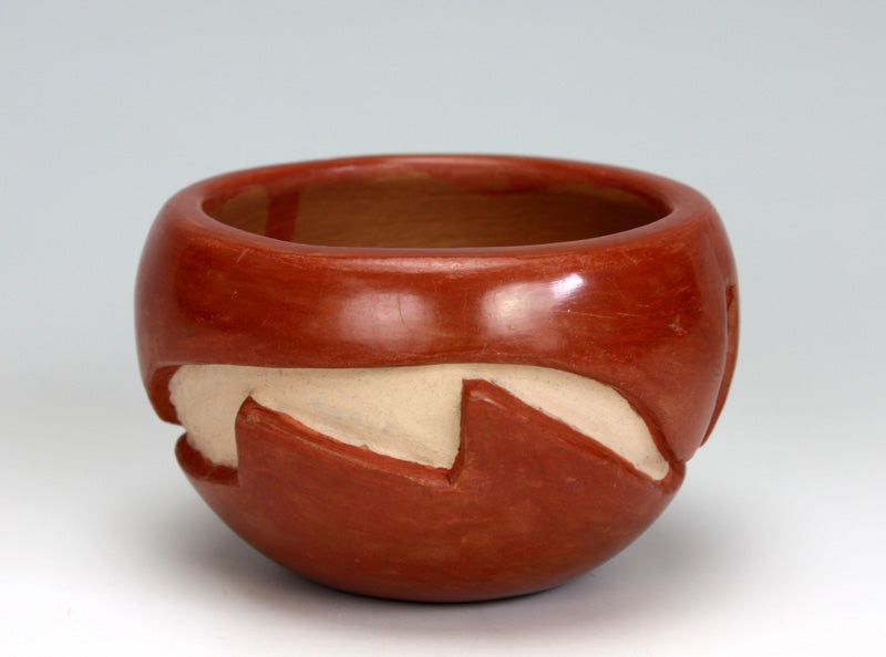 Santa Clara Pueblo Indian Pottery Red Carved Bowl - Mary Cain