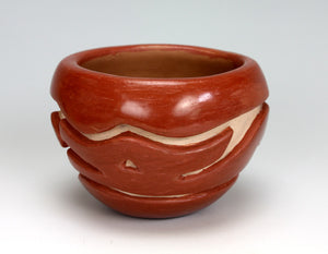 Santa Clara Pueblo Indian Pottery Red Carved Bowl #4 - Mary Cain