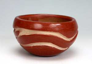 Santa Clara Pueblo Indian Pottery Red Carved Bowl #7 - Mary Cain