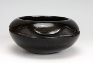 Santa Clara Pueblo Indian Pottery Black Carved Bowl - Mary Cain