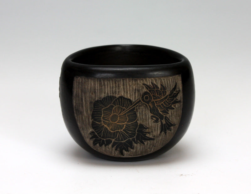 Santa Clara Pueblo Indian Pottery Hummingbird Bowl - Melvin Moquino