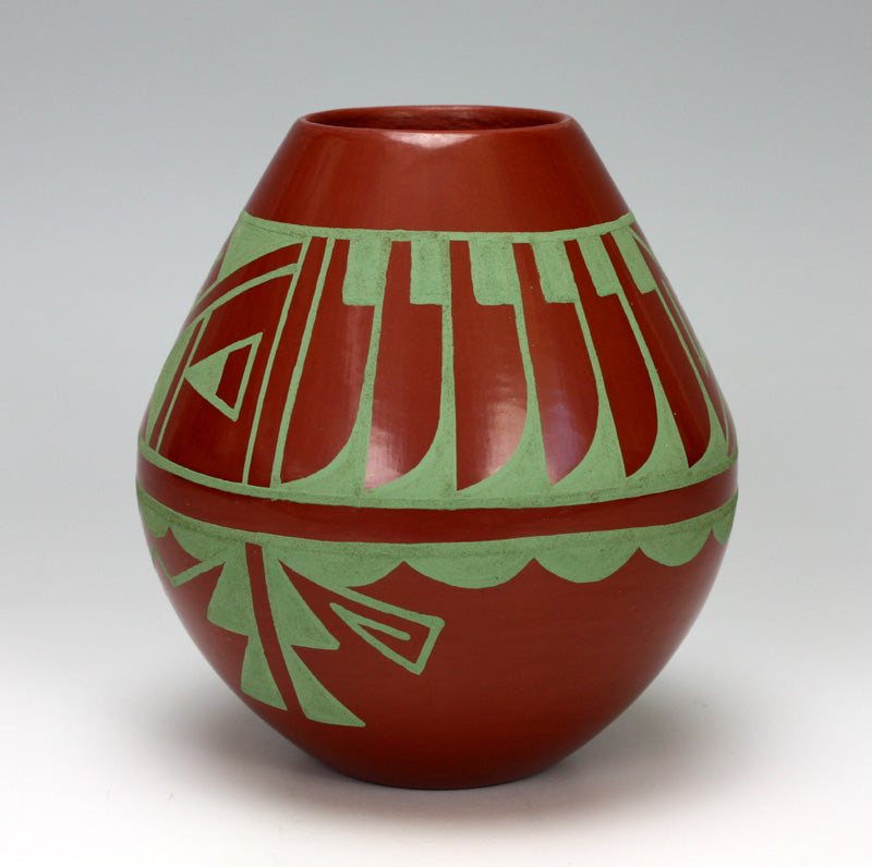 San Ildefonso Pueblo Indian Pottery Feather Jar - Martha Appleleaf