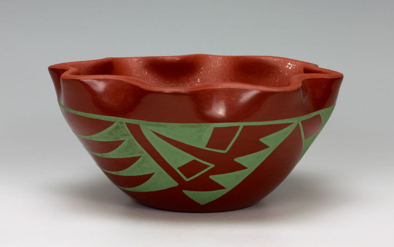 San Ildefonso Pueblo Indian Pottery Scalloped Bowl - Martha Appleleaf