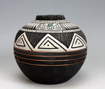 Navajo American Indian Pottery Etched Jar #3 Turquoise & Copper Gerald Pinto