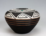 Navajo American Indian Pottery Etched Jar #4 Turquoise & Copper Gerald Pinto