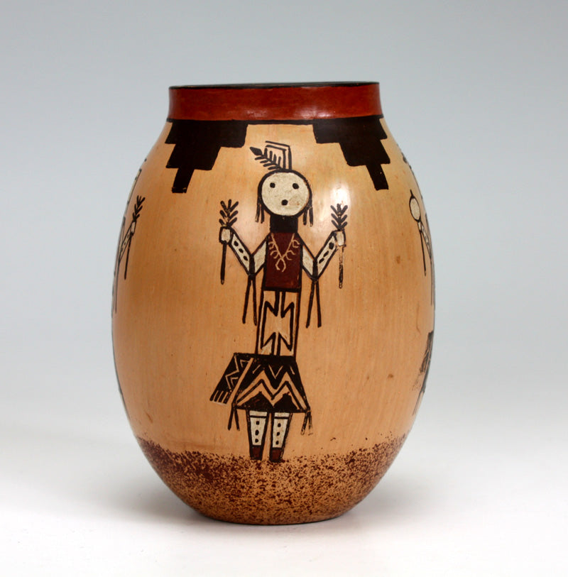Navajo Native American Indian Pottery Yei Figure Hopi Jar - Ida Sahmie