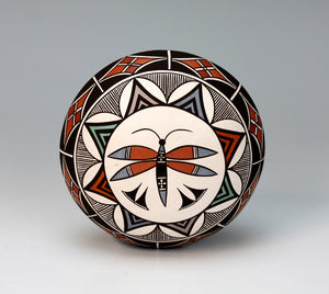 Acoma Pueblo Native American Indian Pottery Drgonfly Seed Pot - Sharon Lewis