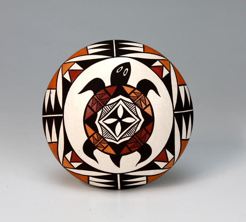 Acoma Pueblo Native American Indian Pottery Turtle Seed Pot - Sharon Lewis