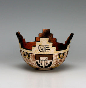 Zuni Pueblo Native American Indian Pottery Cornmeal Bowl - Jaycee Nahohai