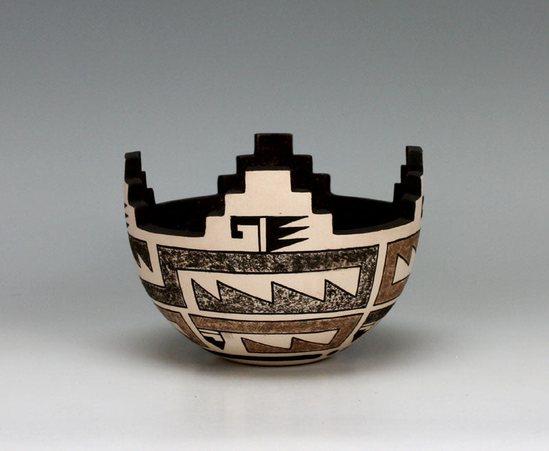 Zuni Pueblo Native American Indian Pottery Cornmeal Bowl #1 - Jaycee Nahohai