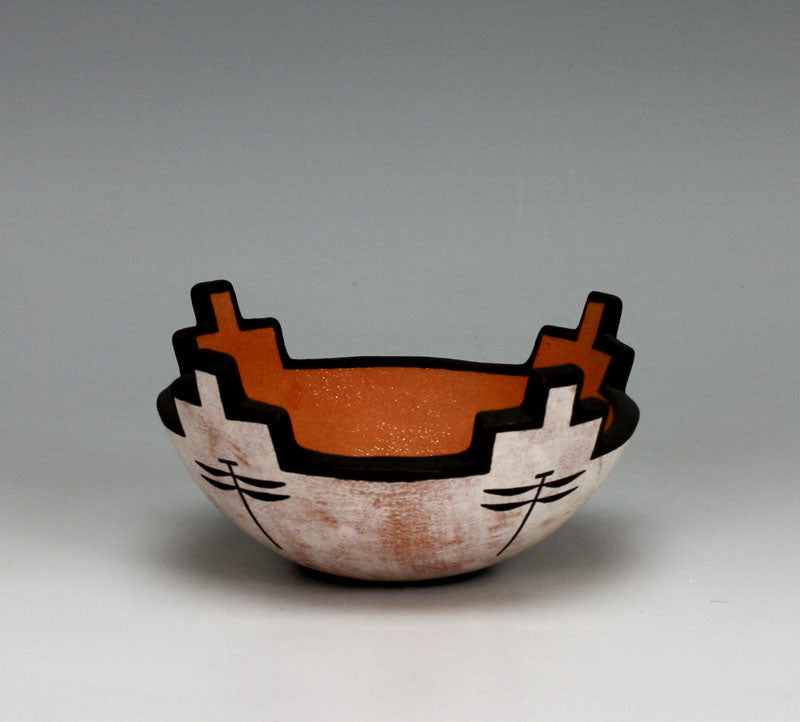 Zuni Pueblo Native American Indian Pottery Cornmeal Bowl - Milford Nahohai