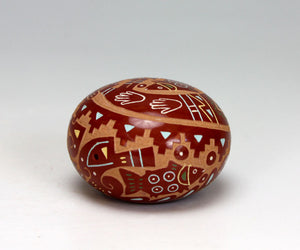 Santa Clara Pueblo Indian Pottery Fisherman Seed Pot - Emily Tafoya