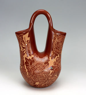 Santa Clara Pueblo Indian Pottery Sgraffito Wedding Vase - Gwen Tafoya