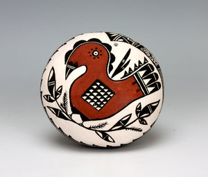 Acoma Pueblo Native American Indian Pottery Parrot Seed Pot - Ruth Estevan